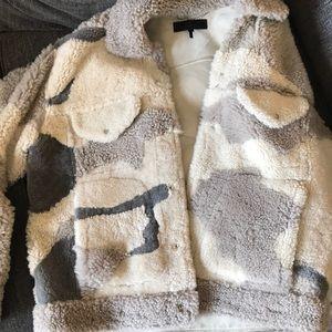 Rag & Bone Camouflage Shearling Teddy Bear Jacket